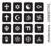 religion symbols icons. grunge...   Shutterstock .eps vector #1038307702