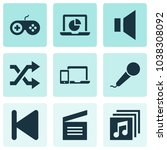 multimedia icons set with... | Shutterstock .eps vector #1038308092