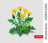 vector dandelions isolated.... | Shutterstock .eps vector #1038313282