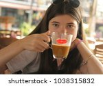 young and beautiful teen cofe... | Shutterstock . vector #1038315832