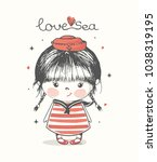 cute sailor baby girl.hand... | Shutterstock .eps vector #1038319195