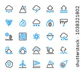 natural disaster icons. risks... | Shutterstock .eps vector #1038321802