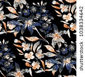 Stock photo watercolor seamless pattern with simple hand drawn flowers floral print 1038334642