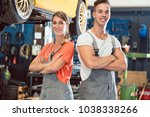 portrait of two skilled auto... | Shutterstock . vector #1038338266
