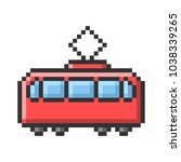 outlined pixel icon of tram.... | Shutterstock .eps vector #1038339265