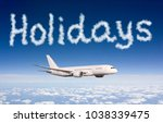 holidays concept. drawing by... | Shutterstock . vector #1038339475