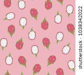 tropical dragon fruit vector... | Shutterstock .eps vector #1038342022