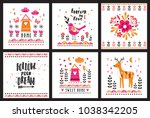 postcards with cute... | Shutterstock .eps vector #1038342205