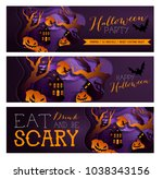 set happy halloween poster ...   Shutterstock . vector #1038343156