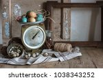 easter still life of scale  old ... | Shutterstock . vector #1038343252