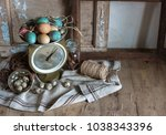 easter still life of scale ... | Shutterstock . vector #1038343396