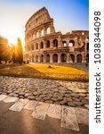 colosseum at sunrise  rome ... | Shutterstock . vector #1038344098