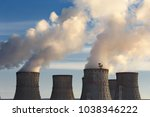 nuclear power plant  clouds of... | Shutterstock . vector #1038346222