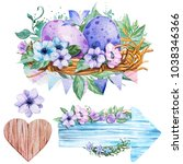 set hand drawn watercolor art...   Shutterstock . vector #1038346366