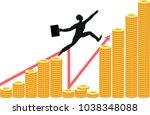 silhouette of businessman jumps ...   Shutterstock .eps vector #1038348088