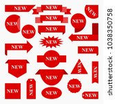 new labels and sticker set....   Shutterstock .eps vector #1038350758