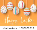 happy easter. hanging easter... | Shutterstock .eps vector #1038352015