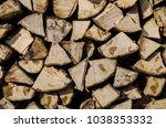 preparation of firewood for the ... | Shutterstock . vector #1038353332