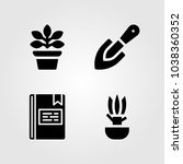 house plants vector icon set.... | Shutterstock .eps vector #1038360352