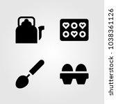 kitchen vector icon set. eggs ... | Shutterstock .eps vector #1038361126