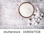 top view of white sugar in... | Shutterstock . vector #1038367528