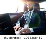 businessman sitting in the back ... | Shutterstock . vector #1038368452