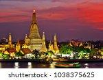 wat arun ratchawararam  a... | Shutterstock . vector #1038375625