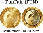 set of physical golden coin... | Shutterstock .eps vector #1038375895