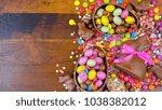 happy easter overhead with...   Shutterstock . vector #1038382012