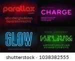 set of glowing neon vector... | Shutterstock .eps vector #1038382555