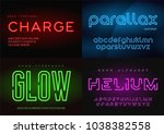 set of glowing neon vector... | Shutterstock .eps vector #1038382558