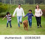 Happy Family Running Outdoors...