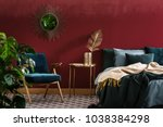 gold table between green... | Shutterstock . vector #1038384298