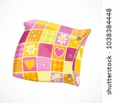 pink soft pillow in a patterned ...   Shutterstock .eps vector #1038384448