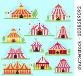 circus vector tent facade... | Shutterstock .eps vector #1038389092