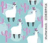 seamless pattern with cute... | Shutterstock .eps vector #1038389416
