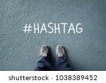social network hashtag on floor ... | Shutterstock . vector #1038389452