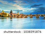 scenic view on vltava river and ... | Shutterstock . vector #1038391876