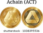 set of physical golden coin...   Shutterstock .eps vector #1038395536
