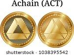 set of physical golden coin...   Shutterstock .eps vector #1038395542