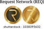 set of physical golden coin... | Shutterstock .eps vector #1038395632