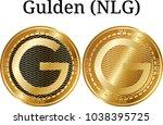 set of physical golden coin... | Shutterstock .eps vector #1038395725