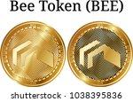 set of physical golden coin bee ...   Shutterstock .eps vector #1038395836