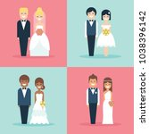 cute bride and groom wedding... | Shutterstock .eps vector #1038396142