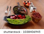 lunch of grilled meat served on ... | Shutterstock . vector #1038406945