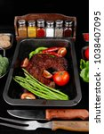 fresh glazed baked big beef... | Shutterstock . vector #1038407095