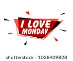 i love monday  sign with red... | Shutterstock .eps vector #1038409828