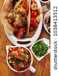 big mexican taco served with... | Shutterstock . vector #1038413512