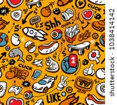 cartoon graffiti style hand... | Shutterstock .eps vector #1038414142