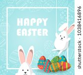happy easter vector... | Shutterstock .eps vector #1038416896